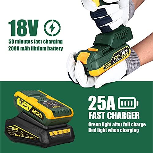 Trapano Avvitatore Batteria Brushless, Avvitatore a Batteria 45 Nm TECCPO, 2000mAh Batteria 18V, LED Luce, Velocità Variabile 0-400/0-1500 giri/min, Valigetta Premium con 12 Accessori BHD350D