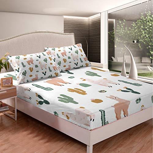 Llama Alpaca Juego de sábanas de Cactus Sábana bajera, linda Llama Juego de cama para niños y niñas Boho Suculentas microfibra cubierta de cama 3D Tema Animal Decoración de la habitación King Size