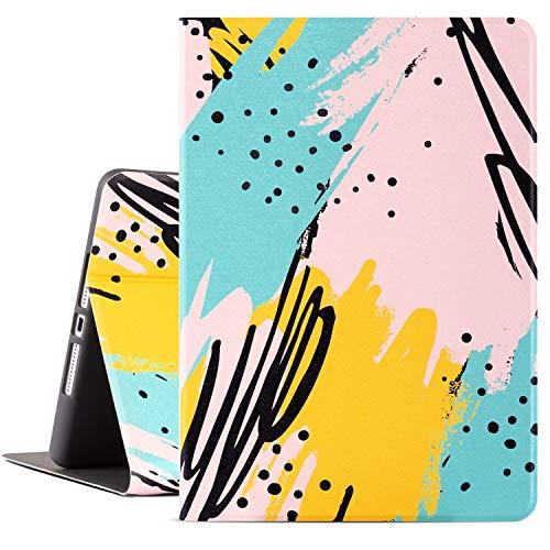 Drodalala 8th Generation iPad Case for Girls Women, 10.2 inch iPad Case for iPad 7th Generation, Premium Leather Soft TPU Adjustable Viewing Stand iPad 10.2 Case-Auto Wake/Sleep Artistic Colorful