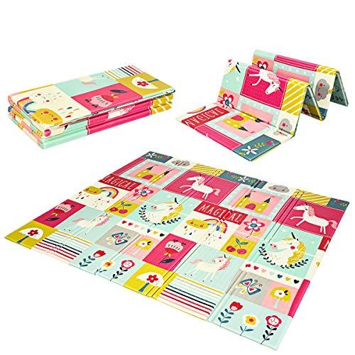 DREAMADE Faltbare Baby Spielmatte, Rutschfeste Babymatte mit Wendbaren Doppelseiten, Krabbelmatte aus Schaumstoff, Baby Bodenmatte mit Tragetasche, für Innen- Außenbereich (Rot)