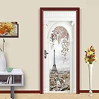 ZWYCEX ドアステッカー 3DドアステッカーDIYホームデコレーションパリタワーベッドルームレノバのためにアートピクチャーステッカー自己接着壁紙防水壁画を印刷 (Sticker Size : 77x200cm)