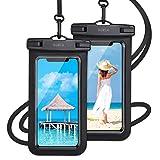 【最新版 & 指紋認証/Face ID認証対応】 防水ケース スマホ用 ( 2枚セット ) IPX8認定 完全保護 防水携帯ケース 完全防水 タッチ可 顔認証 気密性抜群 ウイルス予防対策 iPhone11/iPhoneXR/X/8/8plus/Android 6.5インチ以下全機種対応 防水カバー 水中撮影 お風呂 海水浴 水泳など適用