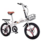 ZCPDP Bicicleta de Carretera Off-Road Bicicleta Plegable Ligera Bicicleta portátil pequeña Estudiante Adulto V-Brake Bicicleta Ultraligera 14/16/20 Pulgadas