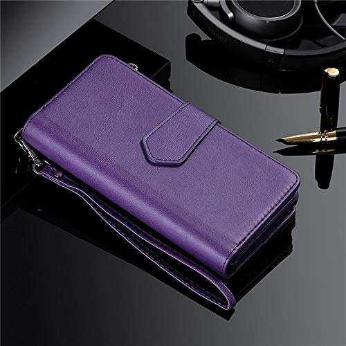 KAZOKUYiZi Estuche magnético para Samsung S20 Ultra S10 S9 S8 Plus Note 20 10 9 8 Tapa de la Tarjeta de la Cartera de Cuero para iPhone 11 Pro XS MAX XR 8 7 Funda (Color : Púrpura)