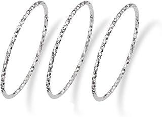 HAESOOL Sterling Silver Texture Midi Bands Ring RI001SET, Size 4+5+6 3PCS