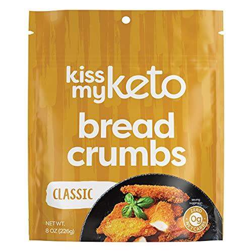 Kiss My Keto Bread Crumbs Plain - Zero Carb Breadcrumbs (0g-Net) | Low Sodium, Low Carb Bread Crumbs | Sugar Free, 6g Protein / Serving, Soy Free, Non-GMO, Vegetarian & Keto Friendly, Low Carb Foods
