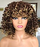 PRETTIEST Afro curly Wigs Ombre Blonde Wig with Bangs for Black Women Natural Looking for Daily Wear (Color: 33/27)