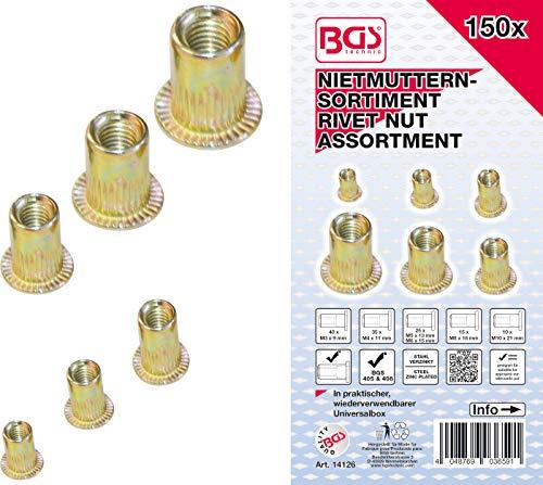 BGS 14126 | Nietmuttern-Sortiment | 150-tlg. | verzinkter Stahl | in praktischer, wiederverwendbarer Universalbox