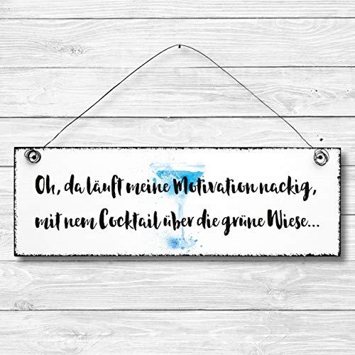 Motivation - Dekoschild Türschild Wandschild aus Holz 10x30cm - Holzdeko Holzbild Deko Schild