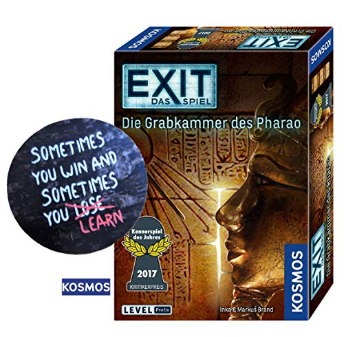EXIT Kosmos Spiele 692698 Spiel, Die Grabkammer des Pharao, Escape Room Spiel für Zuhause Level Profi + 1 Cooler Sticker Sometimes You Win.. by Collectix gratis