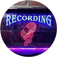 Recording On Air Microphone Studio Dual Color LED看板 ネオンプレート サイン 標識 青色 + 赤色 400 x 300mm st6s43-i0206-br