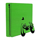 3D Carbon Fiber Lime Green - Air Release Vinyl Decal Faceplate Mod Skin Kit for Sony PlayStation 4 Slim (PS4S) Console by System Skins
