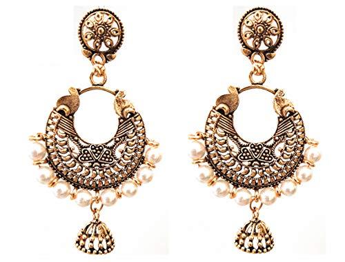 Pendientes colgantes de estilo indio Bollywood, estilo étnico, chapado en oro, oxidados, gitanos afganos, tribales bohemios, jhumka
