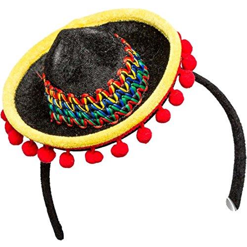 Minihut Mexikanerin Mini-Sombrero Miniatur Mexikanerhut Minizylinder Strohhut Fascinator Spanien Tequila Kopfschmuck
