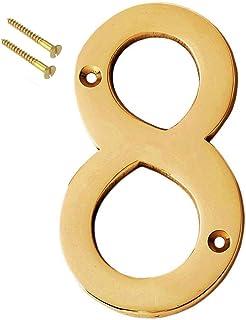 "eSplanade 4"" Brass House Hotel Door Number Plaque Sticky Numeric Numerical Digit 0-9 (8(Eight))"