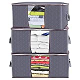 105L Clothes Storage Bag Upgrade Thick,XL Large Blankets Storage Box,Foldable Fabric Closet Organizer Under Bed with Reinforced Handle Zipper for Comforter Bedding Toys,28Gal