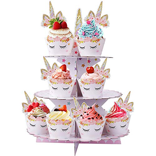 CUPCAKE STAND 3 TIER CUPCAKE DESSERT HOLDER CARDBOARD ROUND TOWER for KIDS BABY GIRLS UNICORN THEMED PARTY BIRTHDAY PARTY