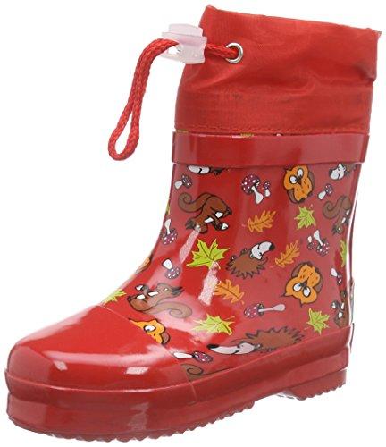 Playshoes Kinder Halbschaft-Gummistiefel, gefütterter Unisex Regenstiefel,Rot,18 EU