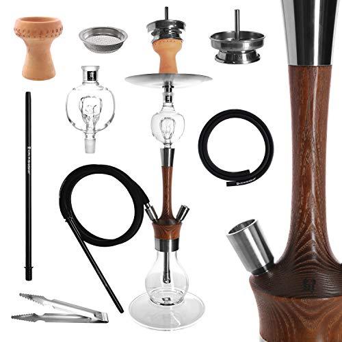 Kaya MADERA Shisha Set - 73 cm hoch - Holz Edelstahl V2A Wasserpfeife, 2 Anschlüsse + Molassefänger + Zubehör (Braun)