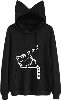 Womens Cat Long Sleeve Hoodie Sweatshirt Hooded Pullover Tops Blouse