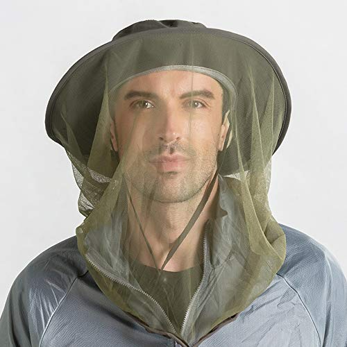 Hunterbee Army Green Mosquito Insect hat/Beekeeper bee Beekeeping hat/Mesh Bug face Shields Mask