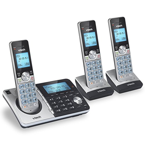 VTech CS5159-3 3-Handset Dect 6.0 Cordless Phone with Answering System and Caller ID, Silver/Black