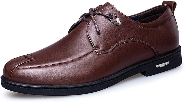 Shengjuanfeng Les Chaussures en Cuir Four Seasons Portent des Chaussures de Sport Basses pour Hommes avec des Chaussures en Cuir Chaussures (Couleur   Dark marron, Taille   40)