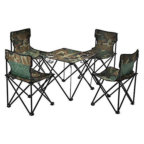 WGE Outdoor Klapptisch und Stuhl Freizeit fünfteiliger Anzug Garten/Strandkorb, Klapptisch und Stuhl fünfteilig,B