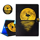 YiCTe Bunte Gemälde Brieftasche Pu-Leder Tablet Fall für Samsung Galaxy Tab S3 9.7-Inch(SM-T820/T825/T827), Kartensteckplätze, Ständer, TPU-Silikon-Rückseite,Flamingo