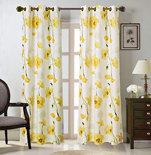 """2 Grommet Curtain Panels 37"""" W x 84"""" L (74"""" Total Width), Decorative Floral Print, Light Filtering Room Darkening Thermal Foam Back Lined Curtain Panels for living/bedroom/patio -Multicolor Yellow"""
