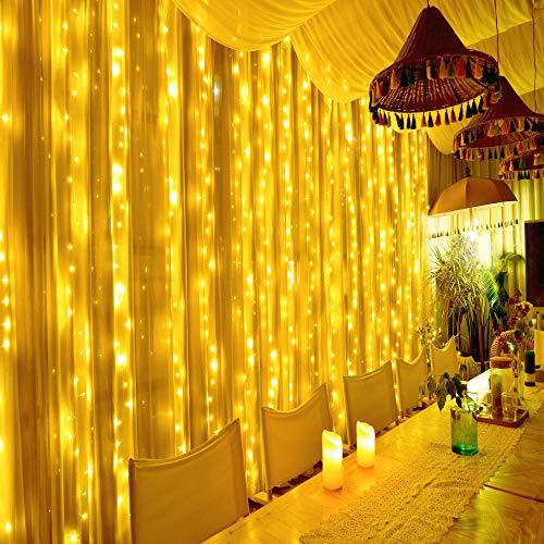 Hezbjiti 600 LED Cortina de Luces 6m x 3m, 8 Modos Cadena de Cortina de Luz, Resistente al Agua IP44 Decoración de Casa, Fiestas, Boda, Balcón, Ventana, Pared, Patio, Escaparate, Jardín, Navidad