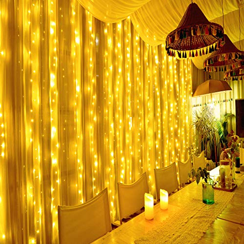 Hezbjiti 600 LED Curtain Lights, 6m x 3m Christmas Fairy String Lights Mains Powered 8 Modes Waterproof Thanksgiving Window Lights for Indoor Outdoor Xmas Wedding Party Bedroom Gazebo Garden Backdrops