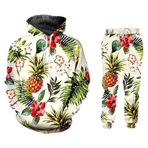 Hombres y Mujeres Set de 2 Piezas con Capucha Camiseta Chaqueta 3D Impreso Piña Flor Streetwear HSPA02239 XXXL
