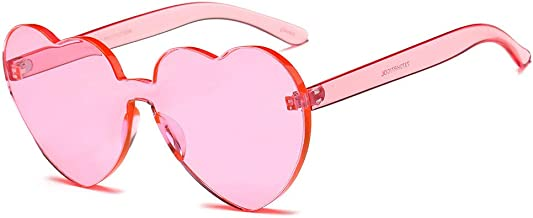 JJLIKER Oversized One Piece Clear Lens Rimless Tinted Sunglasses Fashion Lovely Heart Candy Color Goggles for Women