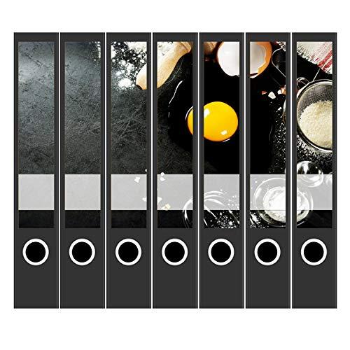 7 x Akten-Ordner Etiketten/Design Aufkleber/Rücken Sticker/Kochen, Essen, Frühstück, Rezepte/für schmale Ordner/Ordnerrücken selbstklebend / 3,7 cm schmal, dünn