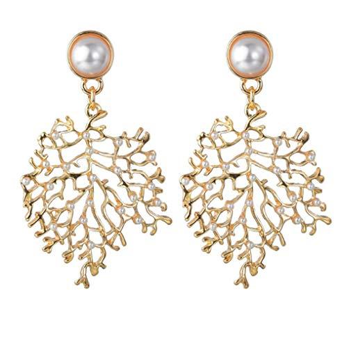 N\A Mujeres Elegante Boda Nupcial Colgar Pendientes, Fiesta Prom Vestir,Damas Pendientes,Pendientes De Metal De Perlas Artificiales Color De Oro Colgante De Coral
