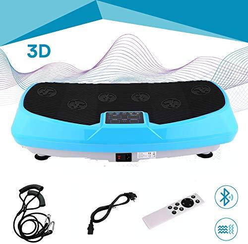 ROOJER Vibrationsplatte Power Vibro Vibrationsgerät Vibrationstrainer Body Shaper Mit LCD Display, Trainingsbänder,MAX 150kg (Blau)