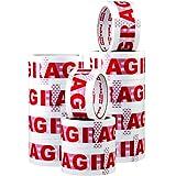 Packatape 12 Rollos de Cinta de Embalaje 48MMx 66M Fragile Para Paquetes y Cajas