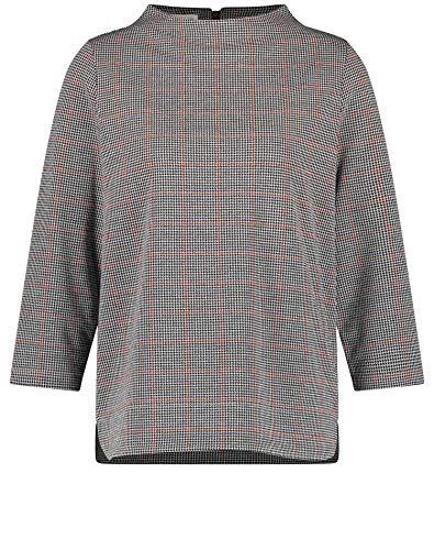 Gerry Weber T-Shirt 3/4 Arm, Bianco Sporco, Blu Navy/Sienna a Quadri, 46 Donna