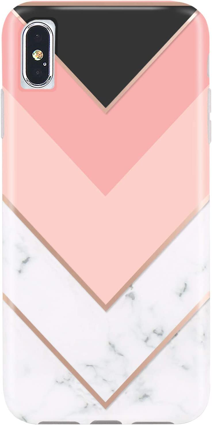 JIAXIUFEN Compatible iPhone X iPhone Xs Case Geometric Pink White Marble Design Slim Shockproof Flexible Bumper TPU Soft Case Rubber Silicone Cover Phone Case for iPhone Xs iPhone X