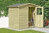 Gartentiger Gerätehaus Frankfurt aus Holz Gartenhaus 14 mm Wandstärke Geräteschrank mit Fussboden und Fundamenthölzer Satteldach