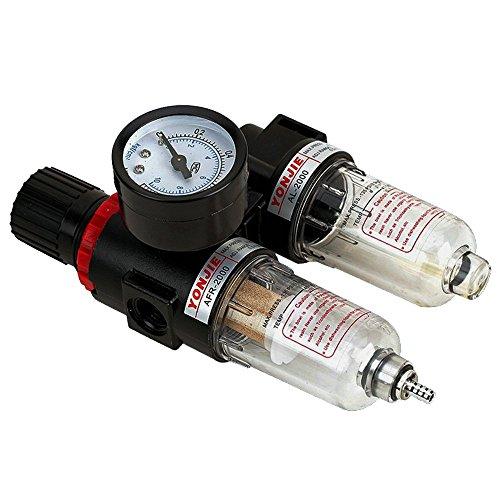 'Riduttore di pressione con manometro manutenzione 1/4 pressione aria separatore acqua Riduttore di pressione per compressore druckregler pneumatico Componenti Filtro regolatore di gas processore