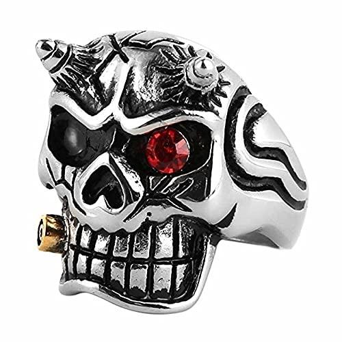 Nuevo anillo de escultura de cabeza de calavera de terror exagerado, anillo de hombre, anillo con incrustaciones de cristal rojo bohemio, accesorios, joyería -9