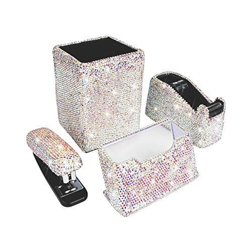 Bling Bling Crystal Luxury Handmade Diamond Pencil Pen Pot Holder & Stapler & Card Holder & Desktop Tape Dispenser Office Stationery Kit for Fashion Girls Women (AB Color)(Square)