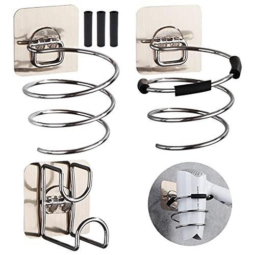 Yueser 2 Piezas Soporte para Secador de Pelo Soporte Secador de Pelo en Espiral Soporte para Secador de Pelo en Espiral Acero Inoxidable con Soporte de Lavabo para Dormitorios Aseos Barberías