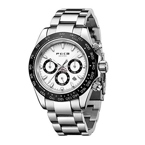 FEICE Herren Automatikuhr 24H Edelstahl Armbanduhr Multi Kalender Wasserdicht Saphir Kristall FM023
