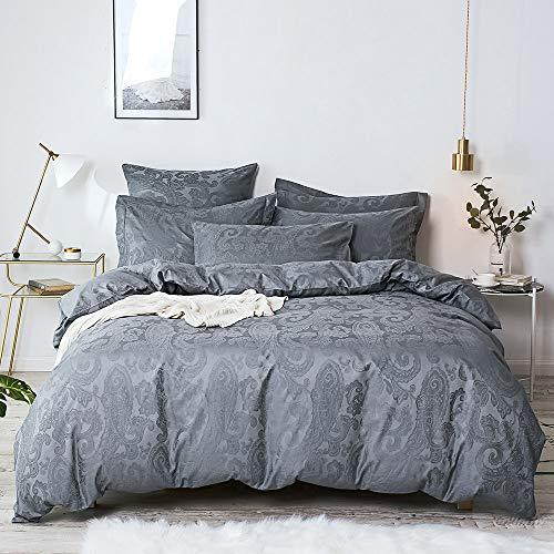 Merryfeel - Funda para edredón de satén y algodón tejido de 300hilos estilo Jacquard., Gris, (Single Set)137x200+50x75cm