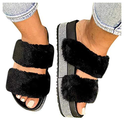 Slippers for Women,Fuzzy Fur Slippers Flip Flop Open Toe Cozy House Memory Foam Sandals Slides Flat Anti-Slip Indoor Outdoor