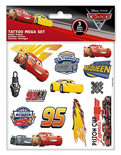 Craze 57675 Disney Pixar Cars 3 Tattoo Mega Set 3 Bögen Tattoos für Kinder Klebetattoos 57676, Kindertattoo