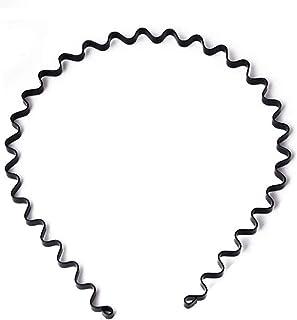 XMHF 6pcs Unisex Black Spring Wavy Metal Hair Hoop Band Men Women Sports Headband Headwear Accessories